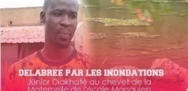 L'enseignant Mamadou Junior Diakhaté au chevet de la Maternelle de l'école Manguiers 1 touchée par les inondations.